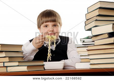 Boy Eating Instant Noodles
