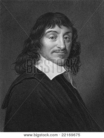 Rene Descartes (1596-1650). Engraved by W.Holl and published The Gallery Of Portraits With Memoirs encyclopedia, United Kingdom, 1833.