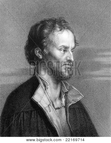 Philipp Melanchthon (1497-1560). Engraved by W.Holl and published in The Gallery Of Portraits With Memoirs encyclopedia, United Kingdom, 1833.