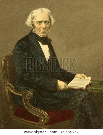Michael Faraday (1791-1867). Engraved by D.J.Pound and published in The Drawing-Room Portrait Gallery of Eminent Personages, United Kingdom, 1859.