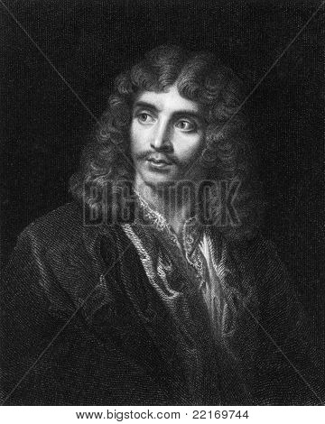 Moliere (1622-1673). Engraved by J.Pofselwhite and published in The Gallery Of Portraits With Memoirs encyclopedia, United Kingdom, 1833.