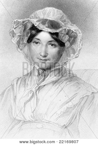 Frances Milton Trollope (1779-1863). Engraved by W.Holl and published in The National Portrait Gallery encyclopedia, United Kingdom, 1836.
