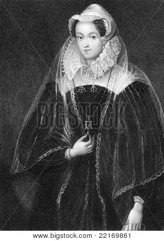 Mary I Queen of Scotland (1542-1587). Engraved by W.T.Fry and published in Lodge's British Portraits encyclopedia, United Kingdom, 1823.