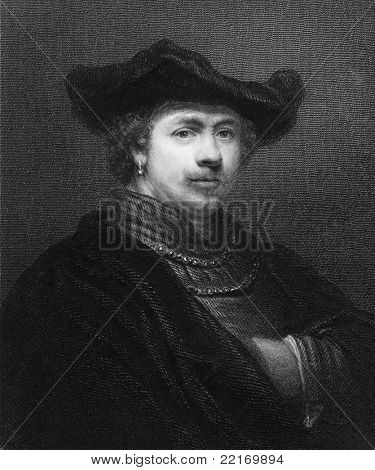 Rembrandt (1606-1669). Engraved by R.Woodman and published in Gallery of Portraits with Memoirs encyclopedia, United Kingdom, 1833.