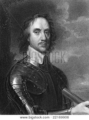 Oliver Cromwell (1599-1658). Engraved by E.Scriven and published in The Gallery Of Portraits With Memoirs encyclopedia, United Kingdom, 1837.