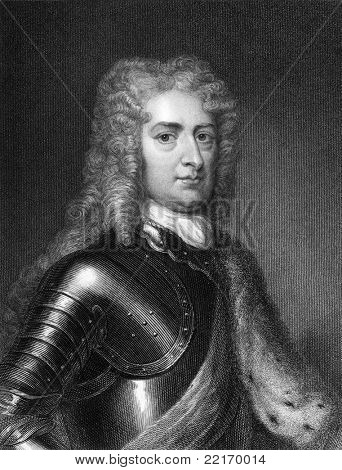 John Churchill, 1st Duke of Marlborough (1650-1722). Engraved by J.Pofselwhite and published in Lodge's British Portraits encyclopedia, United Kingdom, 1823.