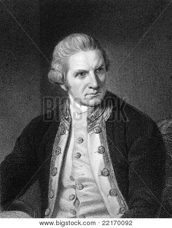 Captain Cook (1728-1779). Engraved by E.Scriven and published in The Gallery Of Portraits With Memoirs encyclopedia, United Kingdom, 1837.
