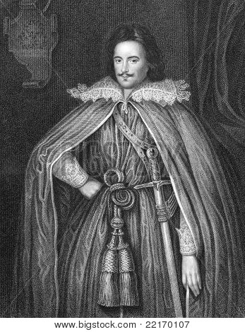 Edward Herbert (1583-1648). Engraved by W.Holl and published in Portraits And Memoirs Of The Most Illustrious Personages Of British History encyclopedia, United Kingdom, 1836.