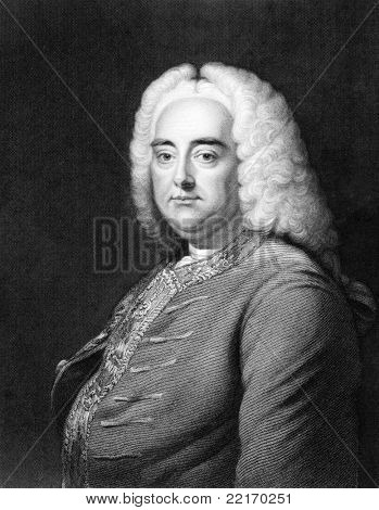 Handel (1685-1759). Engraved by J.Thomson and published in The Gallery Of Portraits With Memoirs encyclopedia, United Kingdom, 1833.