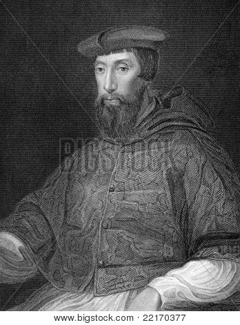 Reginald Pole (1500-1558). Engraved by H.T.Ryall and published in Lodge's British Portraits encyclopedia, United Kingdom, 1823.