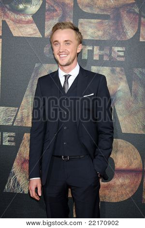 """LOS ANGELES - JUL 28:  Tom Felton arriving at the """"Rise of the Planet of the Apes"""" Los Angeles Premiere at Grauman's Chinese Theater on July 28, 2011 in Los Angeles, CA"""