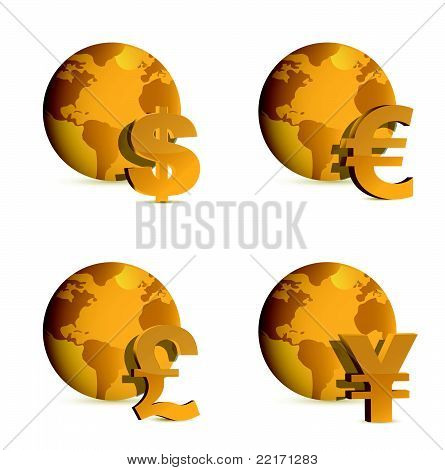 Globe and currency money symbols. illustration