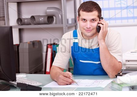 Plumbers merchant on the telephone