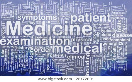 Background concept wordcloud illustration of medicine international