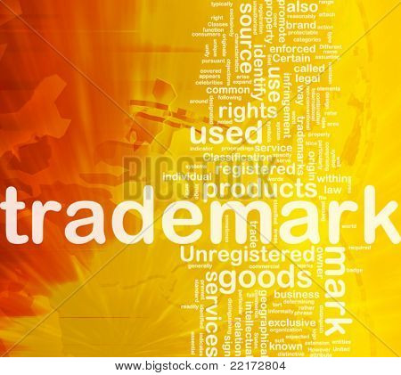 Background concept wordcloud illustration of  trademark international