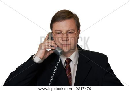 Businessman Talking By Telephone