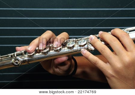 Flute And Girl Hands