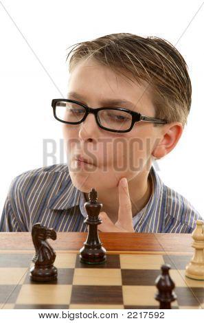 Chess Player Analyzing Next Move