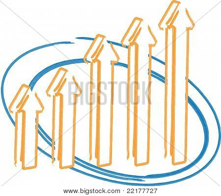 Arrow bar chart, 3d whiteboard hand-drawn  editable, vector illustration