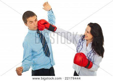 Furious Woman Kick Business Man