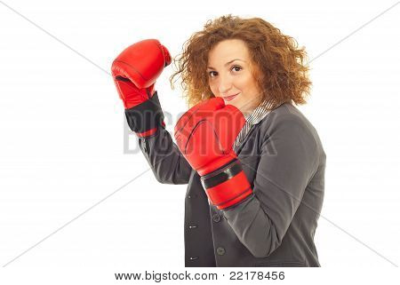 Happy Business Woman Ready For Fight