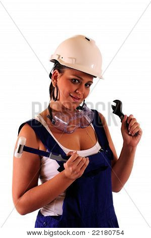Young Woman With Hard Hat And Tools