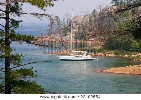 Saleboat in Georgian Bay North Channel