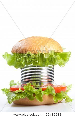Unhealthy Canned Fast Food Hamburger