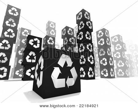 Many black box with white recycle sign