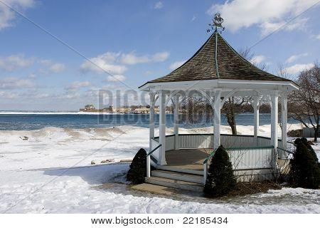 Gazebo In Winter Near Lake Ontario
