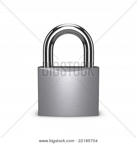 Stainless Padlock Isolated On The White Background