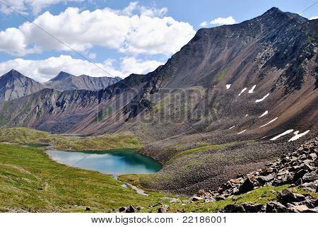 On The Path To Shumak Mineral Springs. Mountain Lake Nogon-nur.