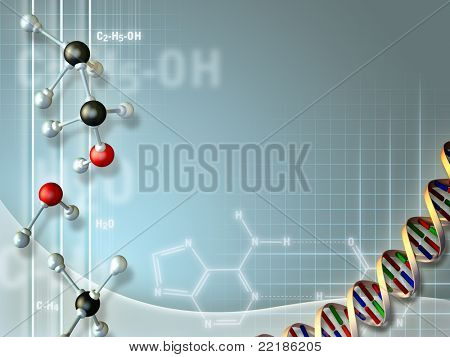 Nice composition of objects related to the biochemical field, suitable to use as a background. Digital illustration.