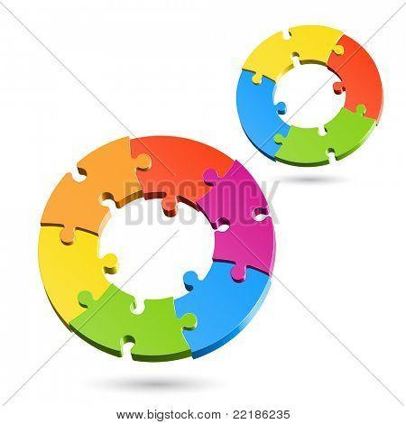 Jigsaw puzzle circles. Vector.