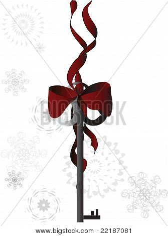 Skeleton Key Tied with Red Ribbon