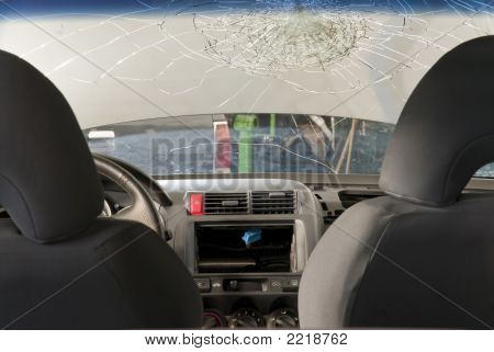 Shattered Windshield From Inside The Car.