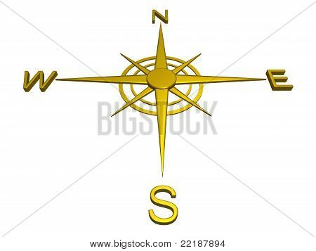 Gold compass, directions, travel