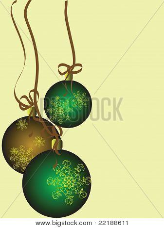 Green and Gold Christmas Balls