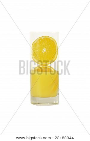 Glass Of Fresh Oranges In Orange Juice.