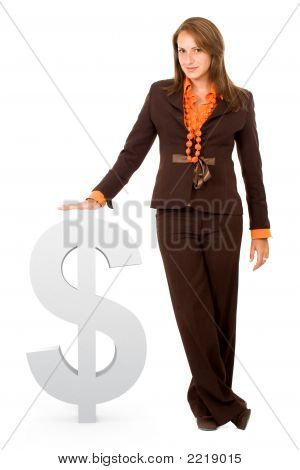 Business Woman With Dollar Sign