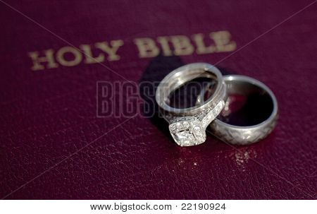 Wedding Rings on Bible Stock photo