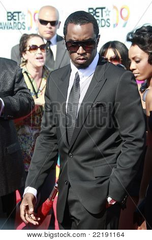 LOS ANGELES, CA - JUN 28: Singer P Diddy arrives at the BET Awards held at the Shrine Auditorium in Los Angeles, California 28 June 2009