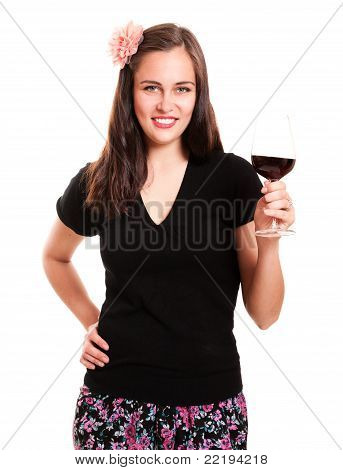 Beautiful Girl With Flower In Hair Holding Glass Of Wine