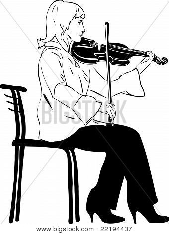 blonde violinist playing while sitting on       chair