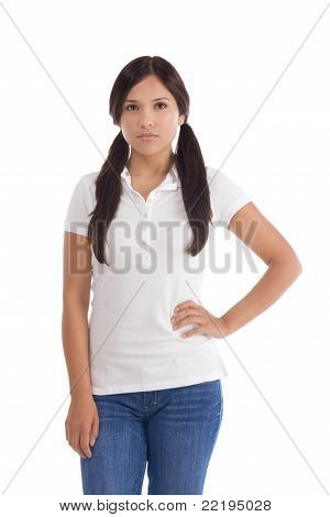 Hispanic Teenager In Jeans And White Polo T-shirt