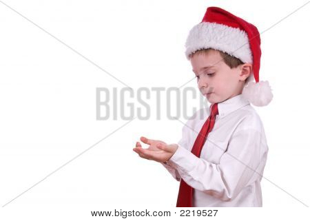 Junge im Weihnachten-Hut