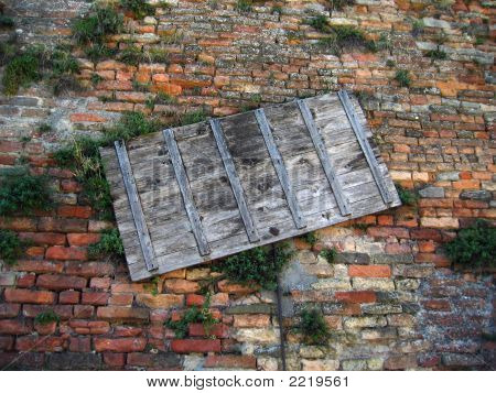 Background With Bricks And Wood