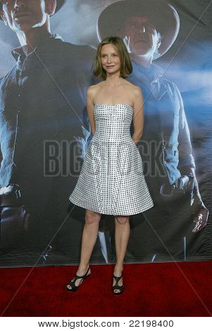 """SAN DIEGO, CA - JULY 23: Calista Flockhart arrives at the world premiere of """"Cowboys and Aliens"""" on July 23, 2011 at the Civic Theatre in San Diego, CA."""