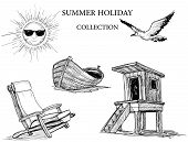 stock photo of summer beach  - Summer beach collection of icons - JPG