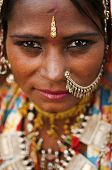 stock photo of rajasthani  - Portrait of a India Rajasthani woman - JPG